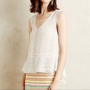 Anthropologie Tracy Reese White Embroidered Tank